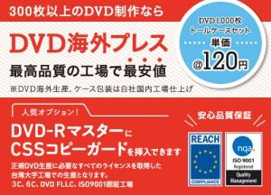 DVD海外プレス。DVD-RマスターからCSSコピーガードもOK。台湾工場で生産します。